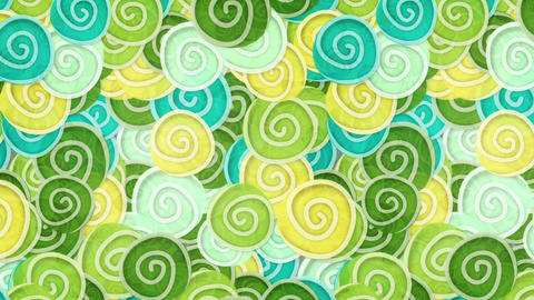 yellow green cyan curles ornatment loop background Stock Video Footage