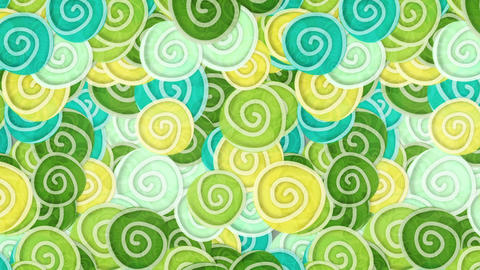 yellow green cyan curles ornatment loop background Animation