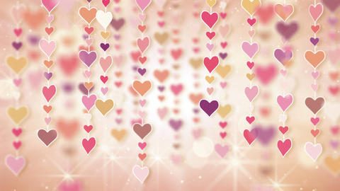 dangling pink hearts loopable background Stock Video Footage