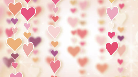 dangling pink hearts loopable background Animation