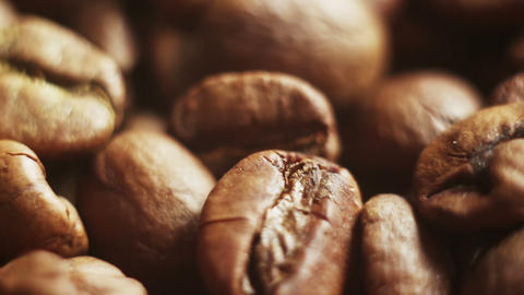 close-up sequence of roasted coffee beans Footage
