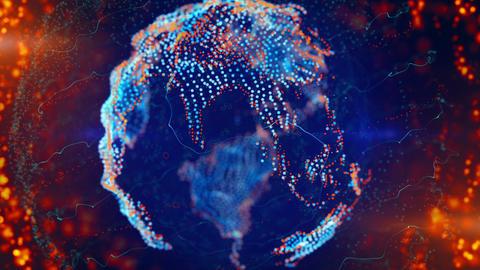 blue orange deformed globe spinning loop Stock Video Footage