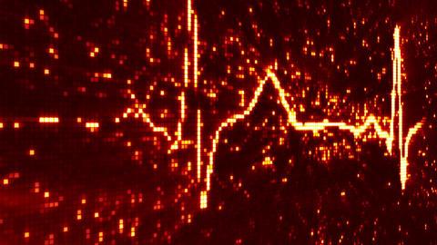 digital pixel EKG pulse orange loop Stock Video Footage