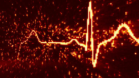 digital pixel EKG pulse orange loop Animation