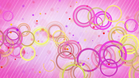 circles lines pink yellow loop background Stock Video Footage