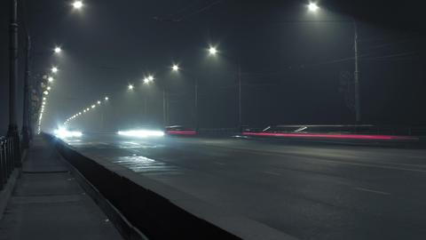 timelapse bridge traffic lights at night Stock Video Footage
