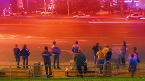 crowd at public transport stop urban night timelap Stock Video Footage