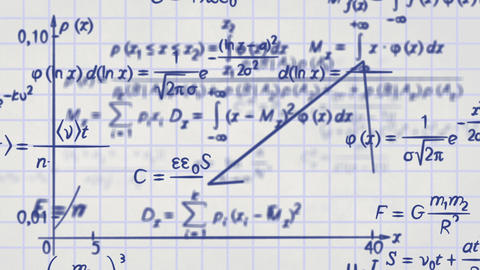 math physics formulas on squared paper loop Stock Video Footage