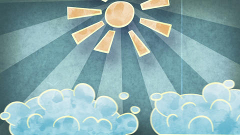 sun and clouds grunge loopable animation Stock Video Footage