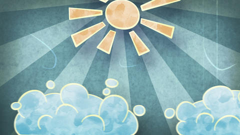 sun and clouds grunge loopable animation Animation