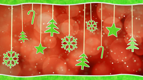 christmas hanging decorations loopable red green b Stock Video Footage