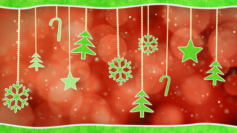 Christmas Hanging Decorations Loopable Red Green B stock footage