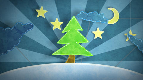 winter scene with christmas tree loop Animation