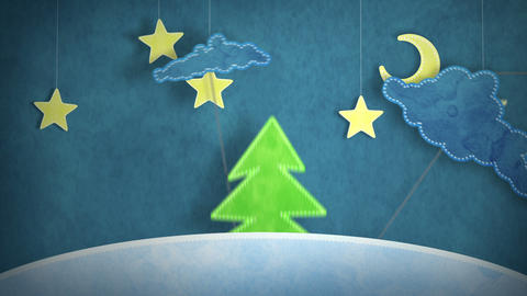 winter scene with christmas tree loop Stock Video Footage