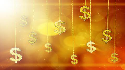 shiny dollar signs dangling on strings loop backgr Stock Video Footage