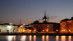 Night view of Yekaterinburg Stock Video Footage