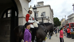Tourists taking photo with horseguard London UK.(L Footage