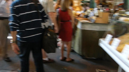 A busy day at the crowded London Borough Market , UK Stock Video Footage
