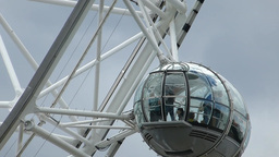 Close-up view of London Eye capsule with passengers, UK, London Footage