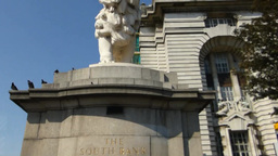 White lion statue at Westminster Bridge, London(LO Stock Video Footage
