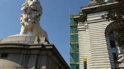 White Lion Statue At Westminster Bridge, London(LO stock footage