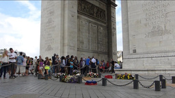 ETERNAL FLAME OF THE ARC DE TRIOMPHE. WITH SOUND. Stock Video Footage