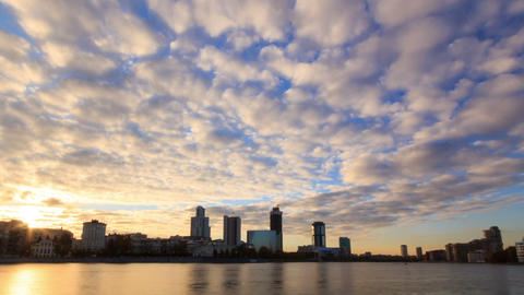 Sunset on the waterfront. Ekaterinburg, Russia. Ti Footage