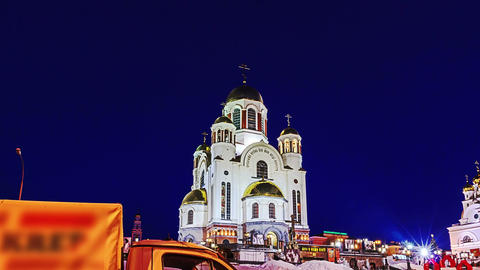Church on Blood. Ekaterinburg, Russia. Time Lapse Stock Video Footage
