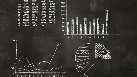 business graphs on blackboard chalkboard Stock Video Footage