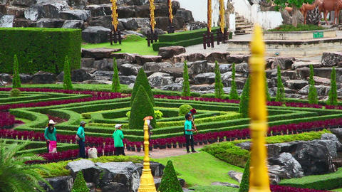 gardeners in famous Nong Nooch tropical garden Footage