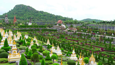 Nong Nooch tropical garden and mountain in Thailan Footage