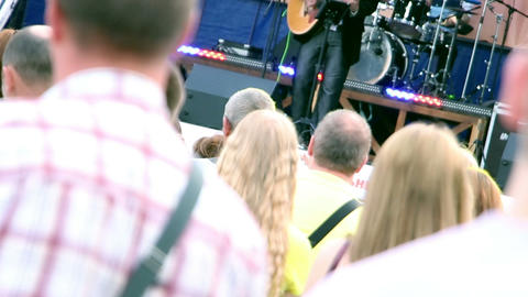people at outdoor concert Stock Video Footage