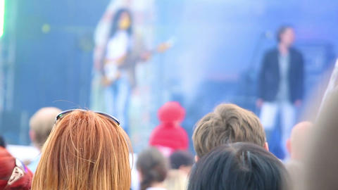 heads of people watching concert outdoor Stock Video Footage