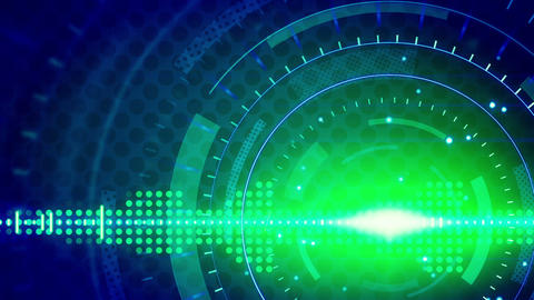sine waves green blue technology loop background Animation
