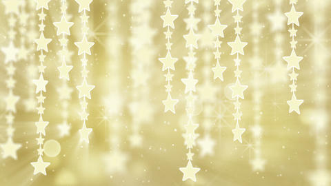 gold shiny hanging stars loop background Stock Video Footage