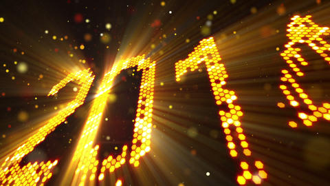 greeting new year 2014 of shining yellow elements Stock Video Footage