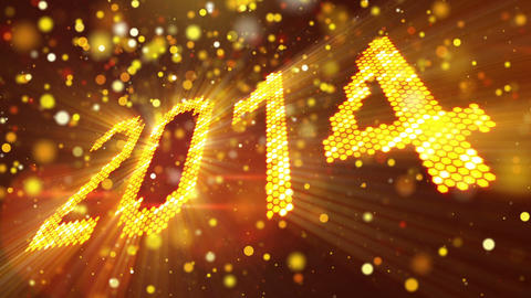 greeting new year 2014 of shining yellow elements Animation