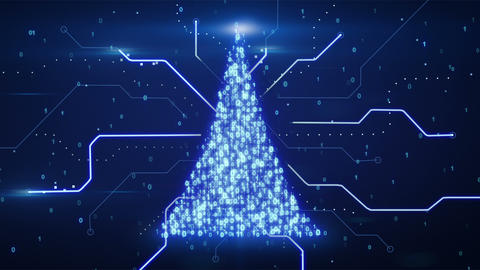 binary christmas tree shape loop since 10.00 Stock Video Footage