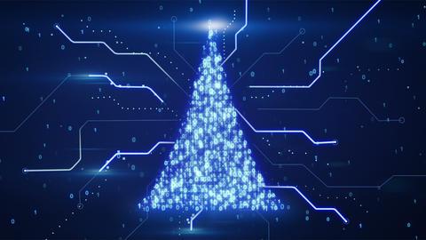 binary christmas tree shape loop since 10.00 Stock Video Footage