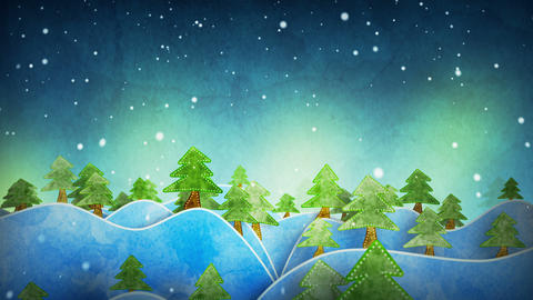 seamless loop flying above cardboard wintry forest Stock Video Footage
