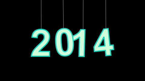 2014 new year celebration with luma matte Stock Video Footage
