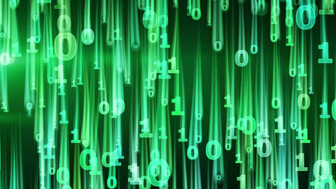green binary digits falling loop Stock Video Footage