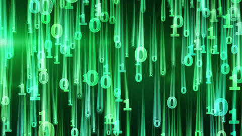 green binary digits falling loop Animation