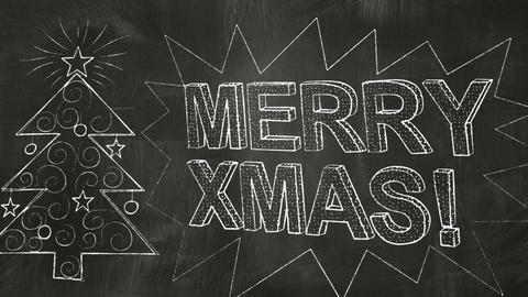 drawing merry christmas greetings on blackboard Stock Video Footage