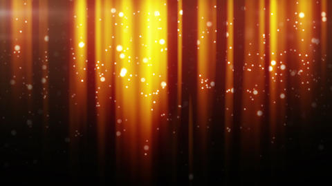 gold particles flying in light beams loop Animation
