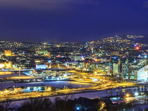 Dawn over Oslo, Norway. Common species. Time Lapse Stock Video Footage