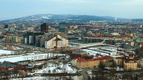 The bridge over the railway. Dawn over Oslo, Norwa Stock Video Footage