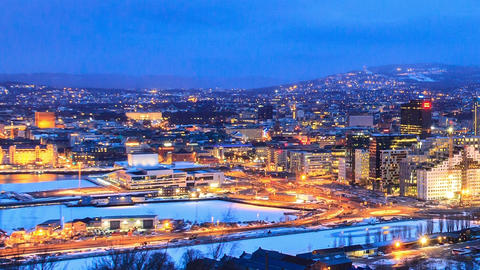 Dawn over Oslo, Norway Footage