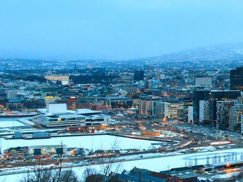 Den Norske Opera & Ballett. Dawn over Oslo, Norway Footage