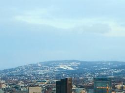 Holmenkollen fog delays. Dawn over Oslo, Norway. T Stock Video Footage
